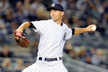Apr 28, 2015; Bronx, NY, USA; New York Yankees relief pitcher Chasen Shreve (45) pitches against the Tampa Bay Rays during the sixth inning at Yankee Stadium. Mandatory Credit: Brad Penner-USA TODAY Sports